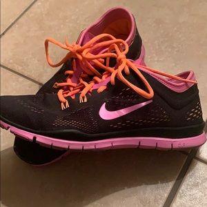 Women's Nike Free 5.0 -Size 9 -Black, pink, orange